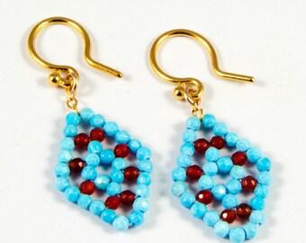 Turquoise and Carnelian Earrings