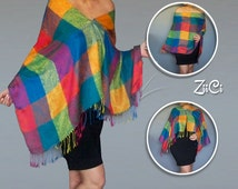 Rainbow Plaid Scarf | Hippie Clothes | Boho Clothing |Bright Shawl | Women's Spring Scarves |Gypsy Wrap | Rainbow Pashmina | Psychedelic Top