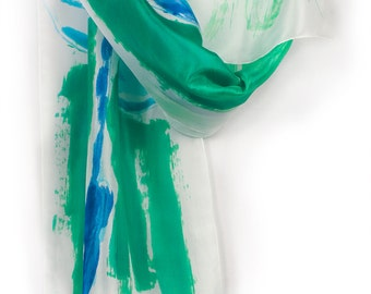 Emerald silk scarf hand painted. Hand painted silk shawl scarf Woman fashion scarf. Abstract painting on silk Spring scarf green and aqua