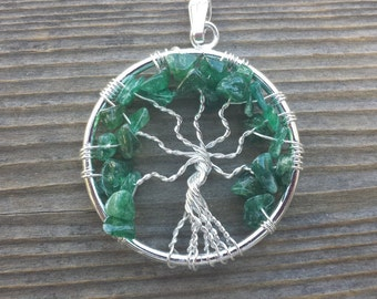 JADE Tree Of Life Wire Wrapped Pendant Stone Natural Gemstone