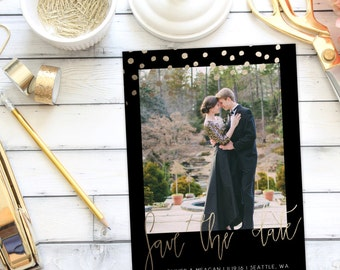 Save the Date Announcement   Save the Date   Invitation   Polka Dots   Faux Foiling   Gold Foiling   One Photo   DIY   Printable
