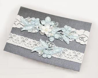 Light Blue Beaded Lace Wedding Garter Set , Keepsake Garter, Toss Garter, Customizable Handmade-GT029