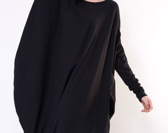 Asymmetrical Designer Dress / Black Loose Casual Dress / Viscose Dress / Long-Sleeved Dress / Asymmetrical dress by DIDRESS