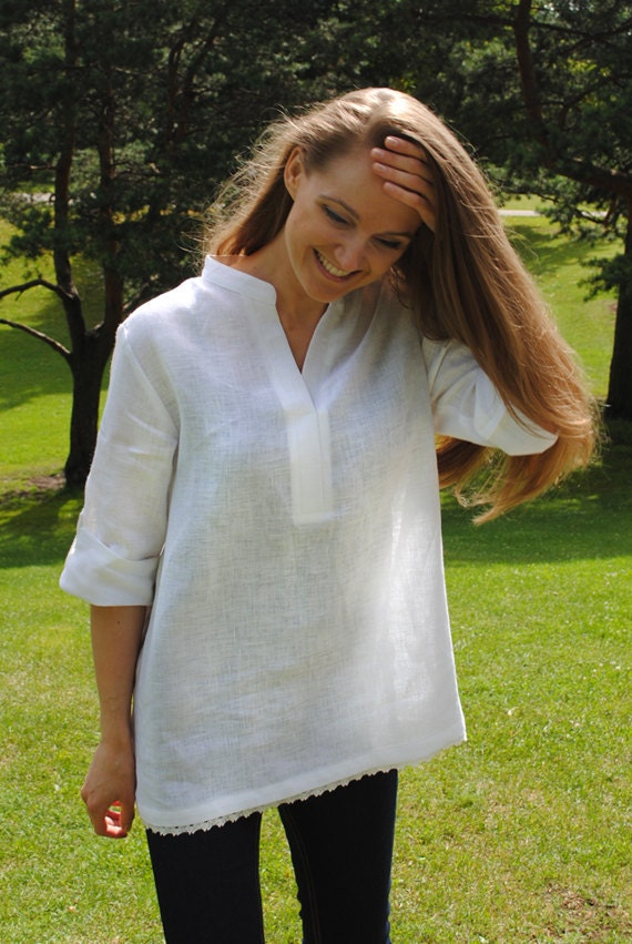 White linen tunic loose linen tunic casual linen top by for Linen white shirt womens