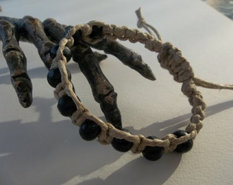 Adjustable Natural HEMP BRACELET Black wood Mala beads - fits men or women