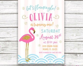 Flamingo Invitation, Let's Flamingle Invitation, Flamingo Birthday Invitation, Girl First 1st Birthday Invitation Printable, Pink and Gold