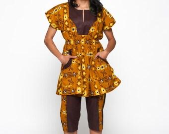 Umber Multicoloured Woodin Ankara African Print Tunic & Capris
