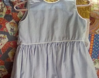soft light blue pinafore dress, linen cotton blend fabric heartstrings brand, size 12 girl