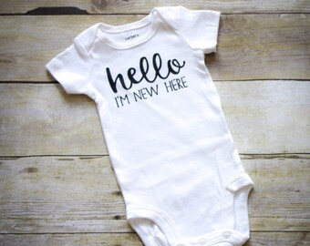 Hello I'm New Here Infant Bodysuit, Hello I'm New Here Baby Bodysuit, Short or Long Sleeved