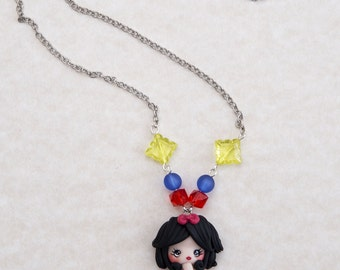 Necklace with snow white version Mermaid in Fimo/Polymer clay Mermaid Necklace/Snowhite/Handmade