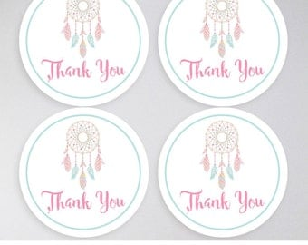 Dream Catcher Favor Tags, Dreamcatcher Favor Tags,INSTANT DOWNLOAD, Thank you tags, Baby Shower, Bridal Shower, Birthday, Christening Tags