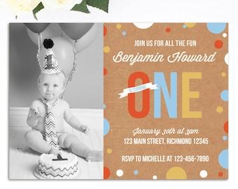Boys First Birthday Invitation, Boys Birthday Invitation, 1st Birthday Invitation, Printable Invitation w Photo, First Birthday Invitation