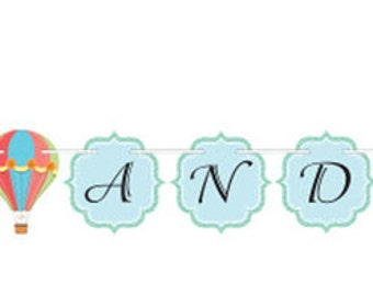 Hot Air Balloon Banner, Up Up and Away, Hanging Party Decoration, Birthday Party, Baby Shower, First Birthday, 1st Birthday