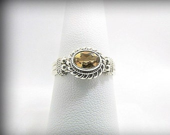 Sterling Silver Ring, Citrine Stone Faceted, Bali Sterling 925, 3 Bands and Braided Setting, size 7