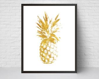 Gold Pineapple Wall Art Print, Printable  Poster, Modern room decor, Nursery Decor, Summer Art Print, Tropical wall art, home decor