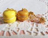 Yellow Macaron Set, Yellow Macaron Charm, Gold Macaron Charm, Planner Charm, Macaron Keychain, Macaron Phone Charm, Macaron Set,MacaronCharm