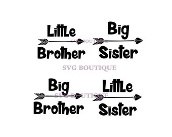 Little Brother SVG, Big Brother SVG, Big Sister, Little Sister, Vector, Cutting File, PNG, Cricut, Silhouette, Cut Files, Iron On, dfx