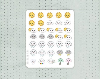 Weather planner stickers - 35 TINY functional kawaii stickers for Erin Condren, Filofax, MAMBI, and more
