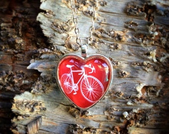 Red Heart Pendant Red Bicycle Necklace