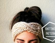 Turban Style Knit Headband Pattern, Turban Knitting Pattern, Knit Ear Warmer Pattern, Boho Turban Knit Pattern, Turban Ear Warmer Pattern