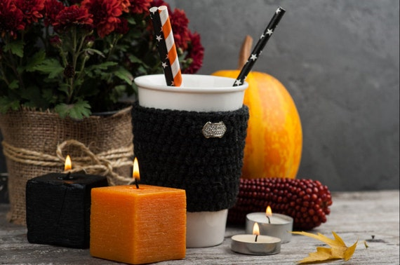 Christmas gift, Halloween decor, Crochet anthracite cup cozy, coffee cup cozy, mug cozy, cup cozy, coffee cup sleeve, gift ideas