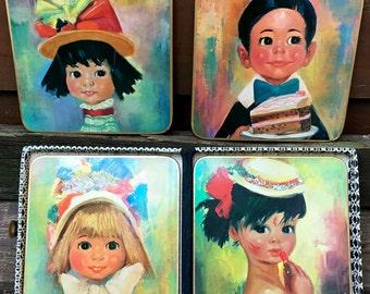 Vintage Win-El-Ware Coaster Set of Big Eyed Children