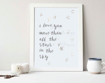 I Love You More Than All The Stars In The Sky Wall Art Print Hand-painted Watercolour Grey Gift
