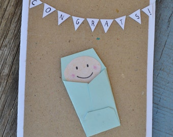 New Baby Handmade Card- Congratulations