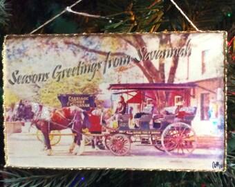 Christmas Postcard Ornament of Savananh Georgia