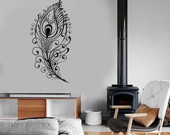 Wall Vinyl Decal Feathers of Peacock Beautiful Natural Ornaments Modern Ethnic Home Art Decor (#1154di)