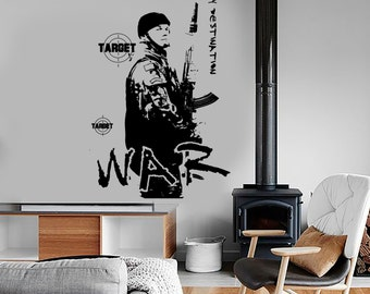 Wall Vinyl War Soldier Target Military Army Cool Decal Mural Art 1624dz