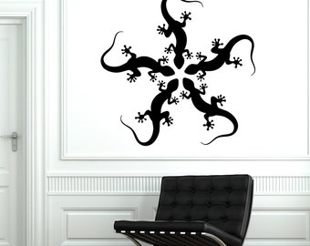 Wall Decal Lizard Gecko Animal Tribal Cool Mural Vinyl Decal Sticker 1725dz