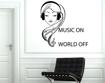 Wall Vinyl Decal Music On World Off Quotes Headphones Notes Decor 2046di