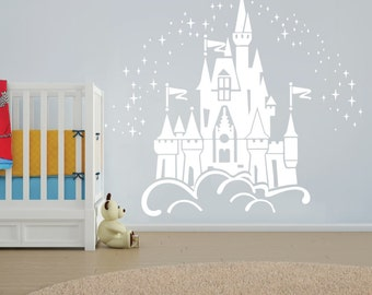 Floating Disney Fairy Castle Wall Sticker, Vinyl Decal Wall Art for  Nurseries.