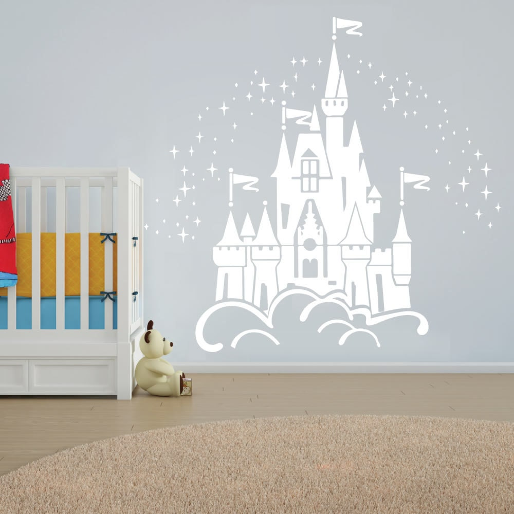 floating disney fairy castle wall sticker vinyl decal wall. Black Bedroom Furniture Sets. Home Design Ideas
