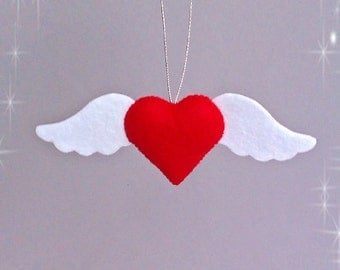 Valentine's Day Decorations Heart Felt Love Wedding Gift Hanging Heart with Wings Angel Shabby Chic Ornament Romantic Gifts Holiday Decor