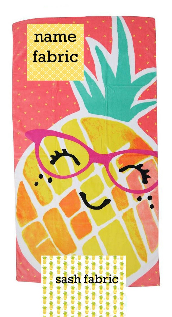 Personalized Name Pineapple Coral and Yellow Beach Towel with Fabric Bow, Summer, Birthday Gift