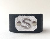 Personalized Bracelet, Leather Initial Bracelet, Girls Initial Cuff, Leather Anniversary, Personalized Cuff, Ladies Initial Bracelet