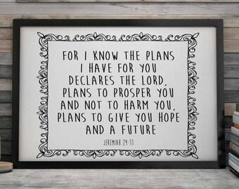 Bible Verse Print, Jeremiah 29-11, Scripture Print, Christian Gift, Graduation Gift, Christian Wall Decor, Scripture Printable, Bible Quote