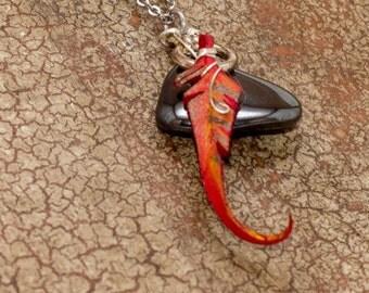 Hematite and phoenix feather pendant