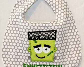 Halloween Frankenstein Bib  - With appliqued Frankenstein face and child's name.