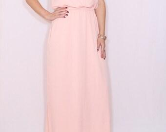 Peach Bridesmaid dress Long dress Chiffon dress Prom dress Keyhole dress