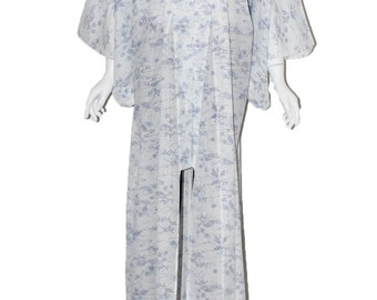 Vintage kimono white & powder blue full length