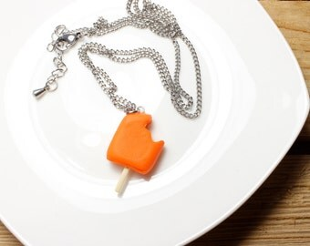 Creamsicle necklace bit popsicle necklace with stainless steel chain orange popsicle