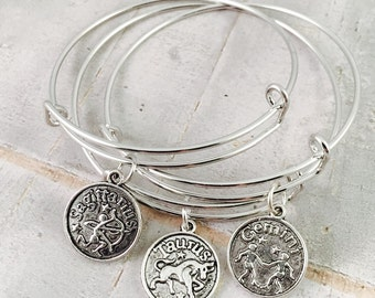 Zodiac bracelet, zodiac charm adjustable bangle, horoscope bangle bracelet, birth sign charm, Aries, Taurus, Leo, Virgi, Capricorn, Aquarius