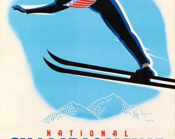 POSTER TRUCKEE CALIFORNIA COUPLE SKI JUMPING WINTER SPORT VINTAGE REPRO FREE S//H