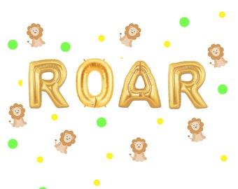 "16"" ROAR"" ""Ballon/Banner. Brüllen Sie Ballons. 1. Geburtstag Ballon. Dschungel-Partei-Dekor. Zoo-Party. Löwe-Ballons. Brüllen Sie Partei. Tiger-Luftballons,"