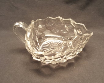 Vintage Glass Triangle Condiment Dish with Handle