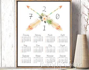 2017 Bohemian Calendar, Yearly Big Calendar, Wall Calendar PDF, Arrows Feather Calendar, Large Desk Calendar 20x24, 16x20, 11x14, 8x10