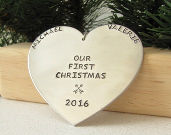Our First Christmas Ornament - Hand Stamped - Heart